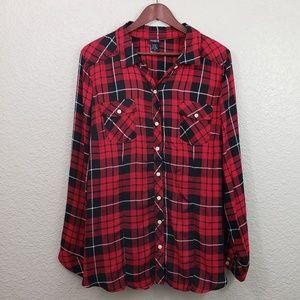 Torrid Plaid Button down Shirt size 2X plus size